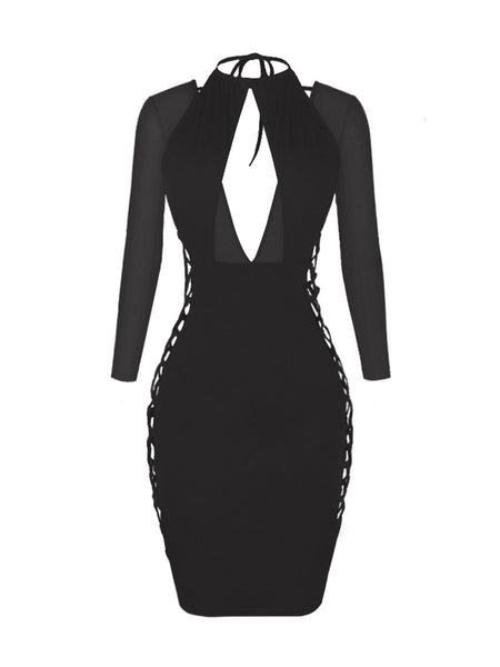 Enticing Lace-Up Hollow Out Plain Bodycon Dress - Bychicstyle.com