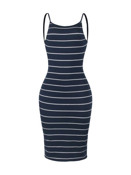 Sexy Backless Spaghetti Strap Striped Night Club Bodycon Dress - Bychicstyle.com