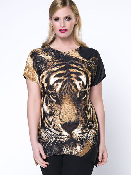 Trendy Animal Printed Round Neck Plus Size T-Shirt - Bychicstyle.com