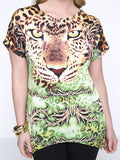 Streetstyle  Casual Animal Printed Round Neck Asymmetric Hem Plus Size T-Shirt