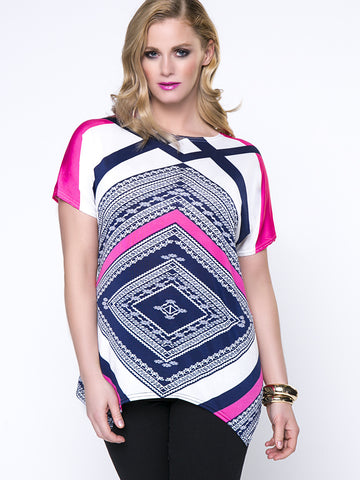 Casual Asymmetric Stripe Color Block Unique Plus Size T-Shirt