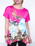 ByChicStyle Floral Printed Charming Round Neck Asymmetric Hem Plus Size T-Shirt - Bychicstyle.com