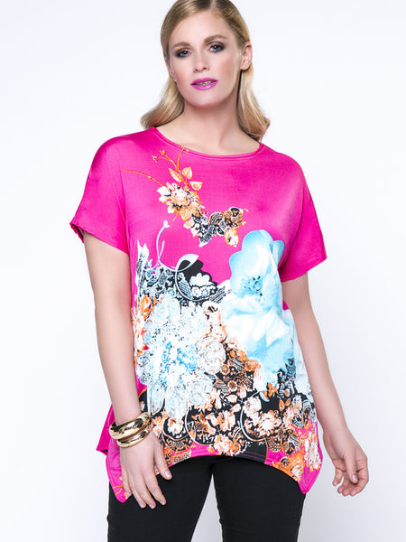 Floral Printed Charming Round Neck Asymmetric Hem Plus Size T-Shirt - Bychicstyle.com
