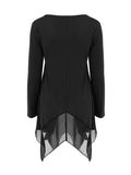 ByChicStyle Casual Asymmetric Hem Patchwork Practical Designed Long Sleeve T-Shirt