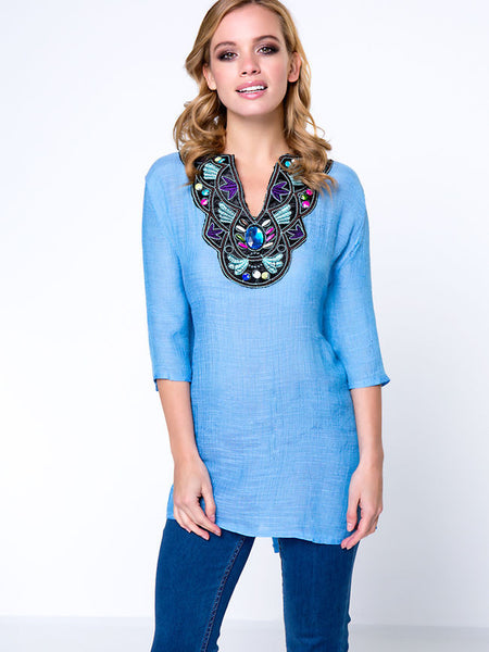 Casual Beading Embroidery Split Neck Puff Sleeve T-Shirt