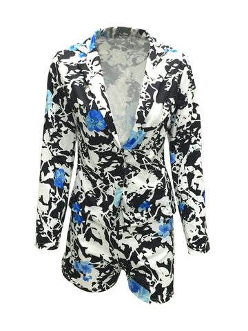 Extraordinary Lapel Floral Printed Single Button Blazer And Short - Bychicstyle.com