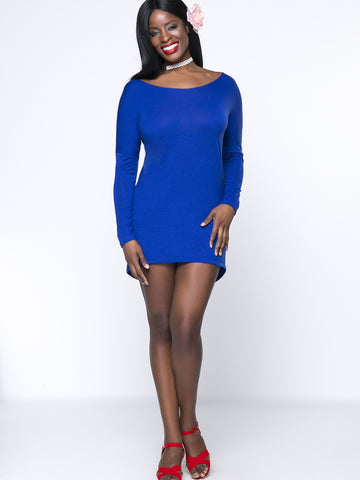 Casual Back Hole Plain Boat Neck Mini Plus Size Bodycon Dress