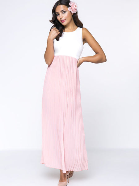 Casual Back Hole Color Block Round Neck Lovely Maxi Dress