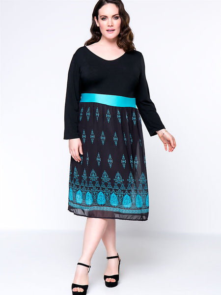 V-Neck Tribal Printed Plus Size Flared Dress - Bychicstyle.com