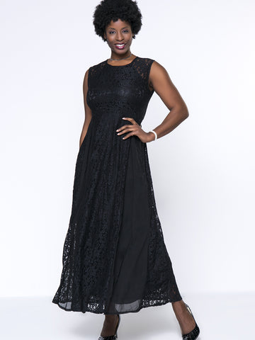Black Lace Elegant Hollow Out Plain Round Neck Plus Size Maxi Dress - Bychicstyle.com