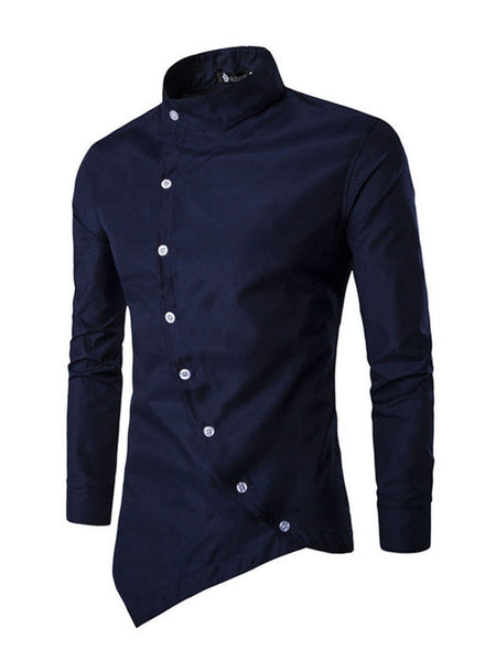 Mens Band Neck Asymmetric Hem Shirt - Bychicstyle.com