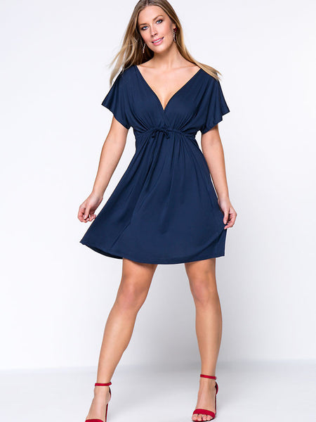 Deep V-Neck Drawstring Plain Plus Size Flared Dress - Bychicstyle.com