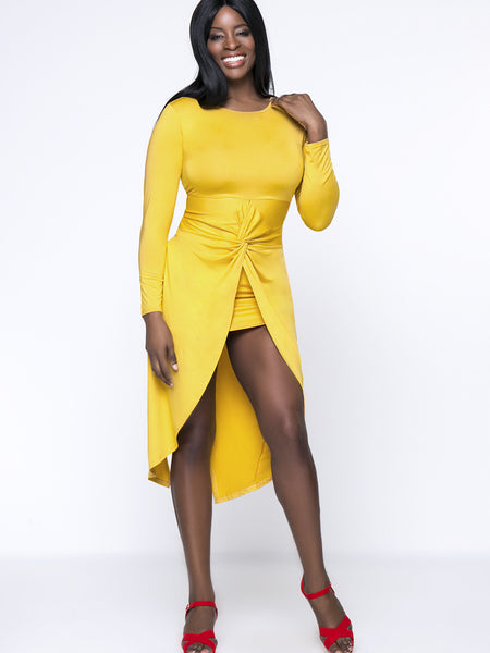 High-Low Designed Round Neck Plus Size Bodycon Dress In Solid Color - Bychicstyle.com