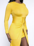 ByChicStyle High-Low Designed Round Neck Plus Size Bodycon Dress In Solid Color - Bychicstyle.com