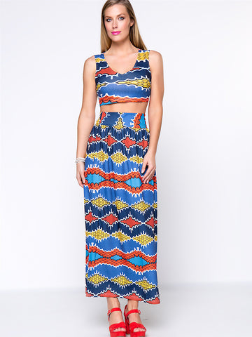 Colorful Tribal Printed Deep V-Neck Crop Top And Flared Maxi Skirt - Bychicstyle.com