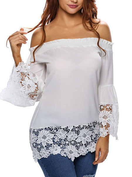 Off Shoulder Patchwork Hollow Out Lace Plain Bell Sleeve Blouse - Bychicstyle.com
