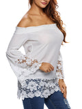 ByChicStyle Off Shoulder Patchwork Hollow Out Lace Plain Bell Sleeve Blouse - Bychicstyle.com
