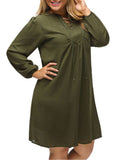ByChicStyle Casual Attractive Split Neck Lace-Up Plain Plus Size Shift Dress