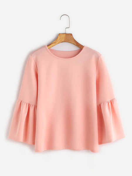 Charming Designed Round Neck Plain Bell Long Sleeve T-Shirt - Bychicstyle.com