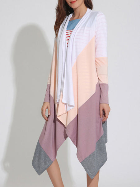 Colorful Lapel Asymmetric Hem Color Block Cardigan - Bychicstyle.com