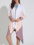 ByChicStyle Colorful Lapel Asymmetric Hem Color Block Cardigan - Bychicstyle.com