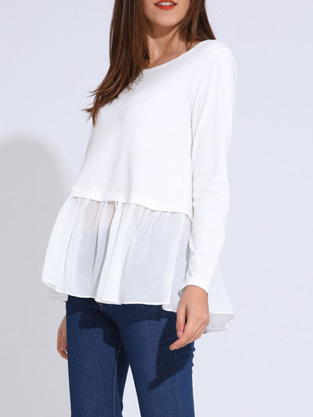 Casual Attractive Patchwork Ruffled Hem Plain Long Sleeve T-Shirt