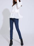 ByChicStyle Casual Attractive Patchwork Ruffled Hem Plain Long Sleeve T-Shirt