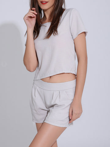 Plain Round Neck Crop Top And Slit Pocket Straight Short - Bychicstyle.com
