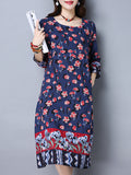 ByChicStyle Round Neck Slit Pocket Floral Printed Plus Size Shift Dress - Bychicstyle.com