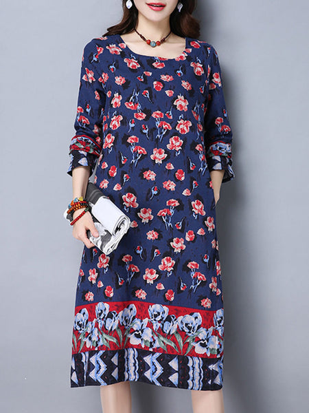Round Neck Slit Pocket Floral Printed Plus Size Shift Dress - Bychicstyle.com