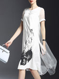 ByChicStyle Round Neck Printed Fancy Shift Dress - Bychicstyle.com