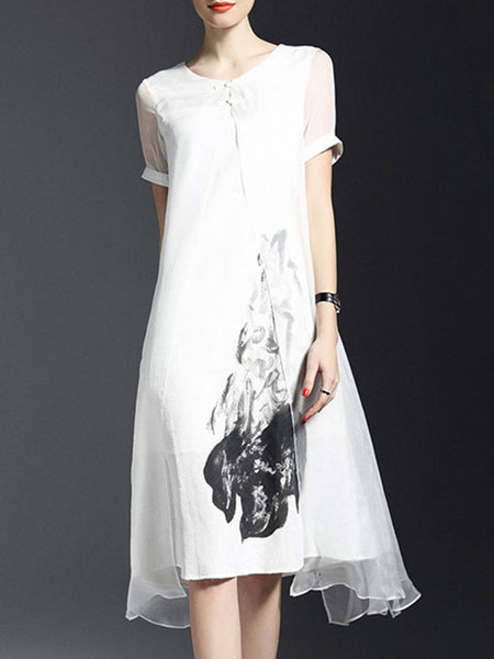 Round Neck Printed Fancy Shift Dress - Bychicstyle.com
