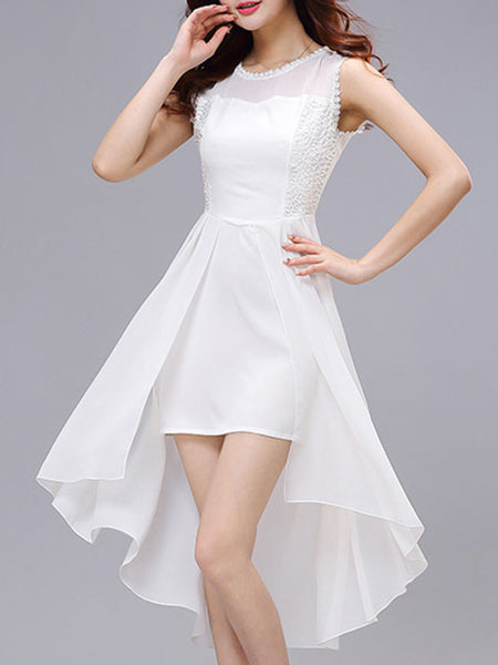 High-Low Charming Round Neck Patchwork Plain Skater Dress - Bychicstyle.com