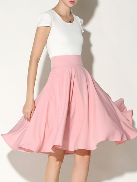 Charming Solid-Color Flared Midi Skirt - Bychicstyle.com