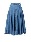 ByChicStyle Casual Denim Elastic Waist Single Breasted Light Wash Flared Midi Skirt