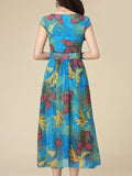 ByChicStyle Swing V-Neck Printed Chiffon Maxi Dress - Bychicstyle.com