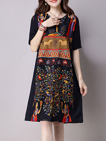 Split Neck Pocket Printed Plus Size Shift Dress - Bychicstyle.com