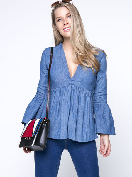 Casual Denim Deep V-Neck Bell Sleeve Blouse With Ruffled Hem