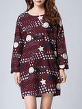 ByChicStyle Round Neck Slit Pocket Printed Captivating Plus Size Shift Dress - Bychicstyle.com