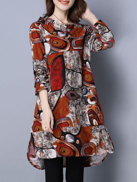 Round Neck Pocket Abstract Print High-Low Plus Size Shift Dress - Bychicstyle.com