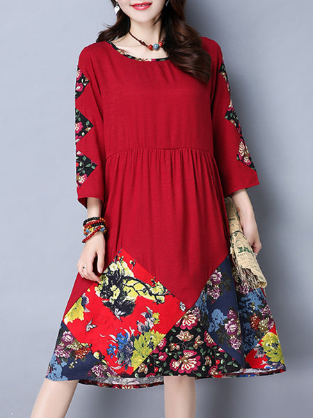 Extraordinary Round Neck Printed Plus Size Flared Dress - Bychicstyle.com