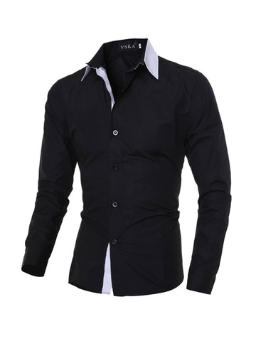 Color Block Collar Men's Office Cotton Shirt - Bychicstyle.com