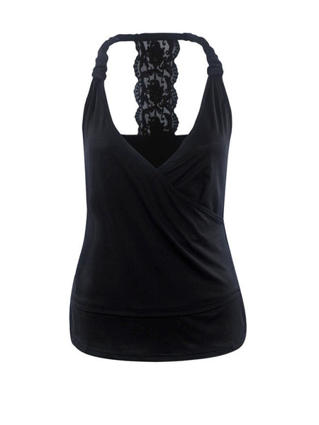 Lace Patchwork Deep V-Neck Sleeveless T-Shirt - Bychicstyle.com