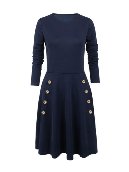 Graceful Crew Neck Double Breasted Plain Skater Dress - Bychicstyle.com