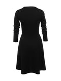 ByChicStyle Graceful Crew Neck Double Breasted Plain Skater Dress - Bychicstyle.com