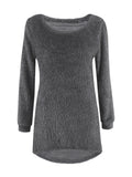 ByChicStyle High-Low Fluffy Round Neck Plain Sweater - Bychicstyle.com
