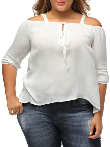 Open Shoulder Bowknot Plain Plus Size Blouse - Bychicstyle.com