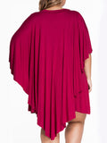 ByChicStyle Round Neck Unique Flounce Plain Plus Size Shift Dress - Bychicstyle.com