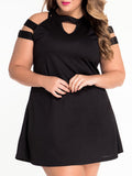 ByChicStyle Open Shoulder Cutout Plain Plus Size Shift Dress - Bychicstyle.com