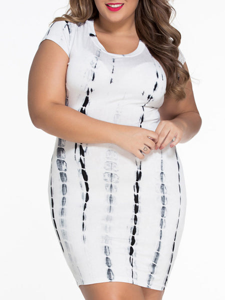 Casual Round Neck Back Hole Tie/Dye Plus Size Bodycon Dress